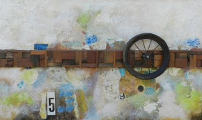 mixed, media, color, antique, wheel,number,5